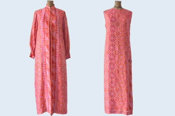 1970s Handmade Thai Silk Dress and Jacket Set size M