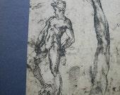 Reserved for Patricia. Michelanglelo Study of David Vintage Italian Print Fratelli Alinari Florence