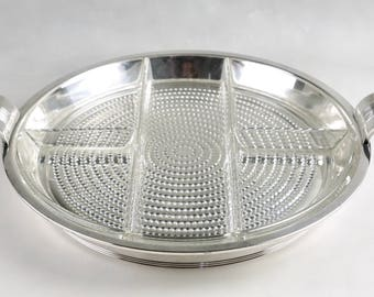 Beautiful International Silver ART DECO SERVING Dish With Duncan Miller 'Teardrop'  Divided Glass Insert, Circa 1938
