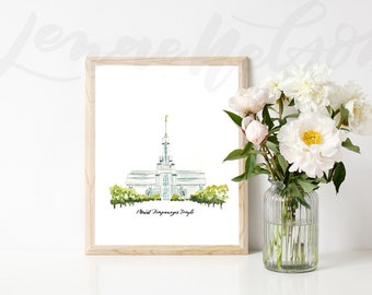 Mount Timpanogos Watercolor LDS Temple PRINTABLE