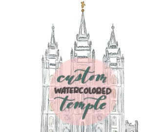 Custom Watercolored Temple -- Original Hand Painted Temple of Your Choice