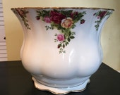 Royal Albert Old Country Roses Indoor Planter Cashe Pot English Flower Pot Jardiniere