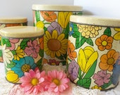 Vintage Kitchen CANISTER Set, Retro FLOWER Canisters, Floral Metal Ballonoff Set, 1970s