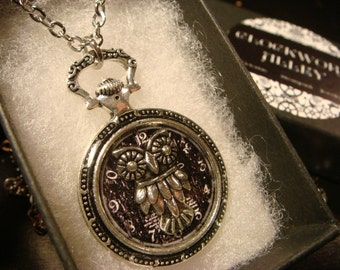 Owl over Clock Image Pocket Watch Style Pendant Necklace (2286)