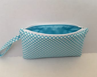 Pencil Bag - Pencil Case - Blue Pencil Bag - Free Monogram - Zipper Pouch - Polka Dot - Handmade Bag  - Personalized Pouch - Fabric Pouch