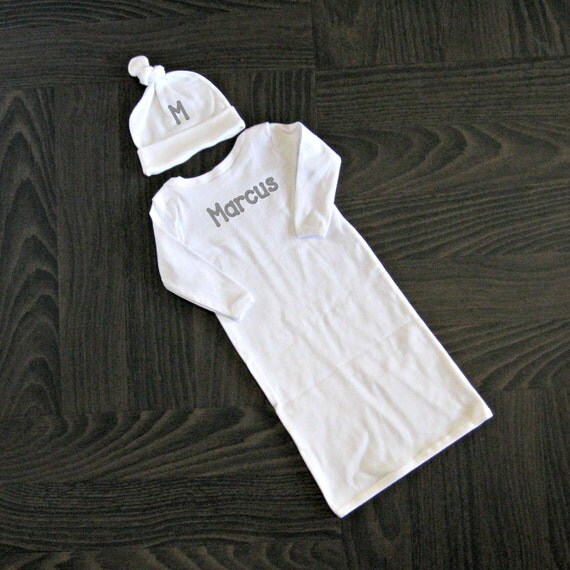 Newborn Baby Gown and Knotted Hat