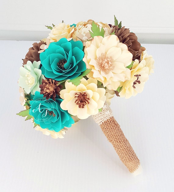 Paper Bouquet - Paper Flower Bouquet - Wedding Bouquet - Teal and Ivory - Custom Made - Any Color