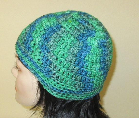 Green and Blue Beanie, Crochet Beanie, Wool Beanie, Cold Weather Accessory, Green and Blue Snow Hat, Wool Winter Beanie