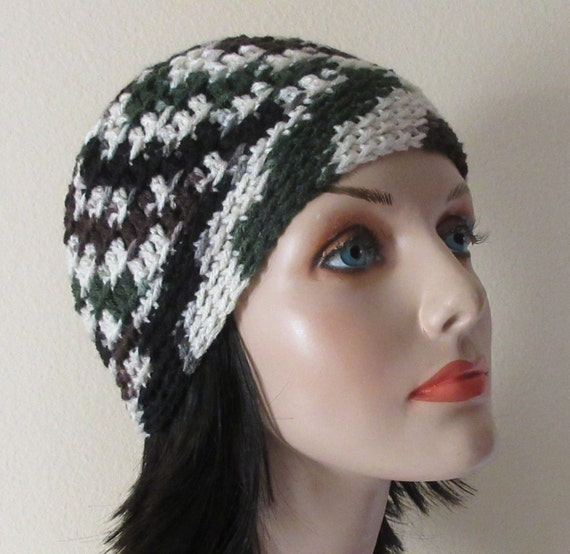 Green Brown Black White Beanie, Cold Weather Hat, Unisex Beanie, Hockey Mom, Hockey Dad, Ice Skating,Snow Playing, Snow Hat