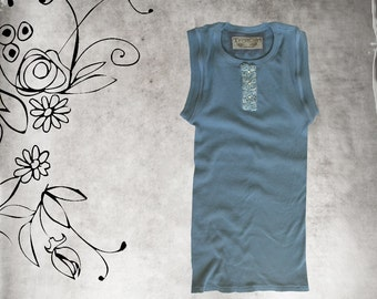 Tank top french blue/rosette diamon front crew/Sleeveless knit shirt