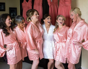 Wedding gift Bridesmaid robes Coral wedding robe peach bridesmaid dressing gown personalized silk robe kimono robes lace robes bridal shower