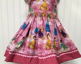Disney Princess Cinderella Beauty and the Beast Belle Boutique Knot Dress Size 2t 3t 4t 5 6