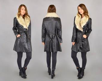 70's Arctic Fox + Black Leather Wrap Coat
