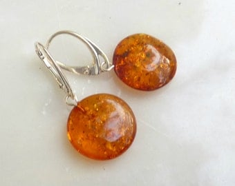 "Baltic Amber Jewelry Earrings Sparkling Cognac Disc 1.4"" 3.1 gram 925 Silver"