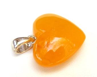 """Baltic Amber Antique Butterscotch Heart Pendant Yolk Natural 1.22"""" 3.6 gram 925 silver"""