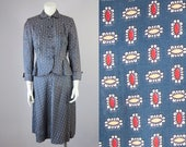 Women's 1940s Victory Suits and Utility Suits 40s Vintage Blue Rayon Novelty Print Suit. Peplum Blazer HighWaisted Midi Skirt Set XS S Petite $165.00 AT vintagedancer.com