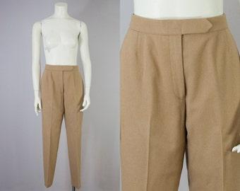 "70s Vintage Evan-Picone Tan Wool High-Rise Trousers (S; 27"" Waist)"
