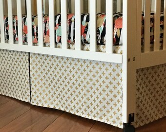 Metallic Gold Crib Set | Crib Skirt | Fitted Sheet | Changing Pad Cover | Baby Girl Bedding | Custom Nursery Decor | Plus Sign Floral Stripe