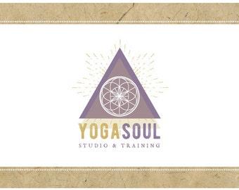 Custom Logo Design - PreDesigned Logo PreMade Logo Vector Logo - OOAK Logo - YOGA SOUL Logo Branding - Pyramid Logo - Sacred Geometry Logo