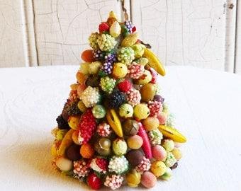 Vintage Miniature Della Robbia Tree - Tiny Fruit Decorated Tree - Christmas Decoration - Doll House Decor