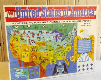 VIntage United States Jigsaw Puzzle - Unopened Original Box - 1960s - 100 Pieces - Homeschooling - Educational Puzzle