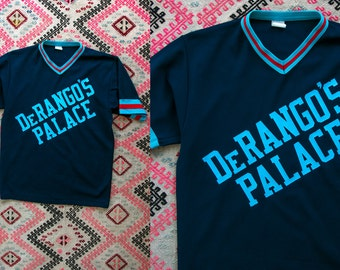 Vintage 1970's Ringer Tee DeRangos Palace 13 Retro Sports Shirt Jersey T Shirt Unisex Adults V Neck Men's Women's Size Small Medium