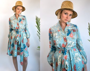 Vintage 70's Robbie Bee Floral Cotton Knee Length Dress with Matching Belt Long Sleeved Retro/Feminine/Boho Women's Medium