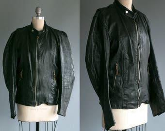Vintage 1960's 1970's Black Leather Motorcycle Jacket/ Distressed/ Retro Men's Size 38