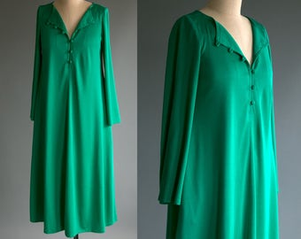 Vintage 70's Teal Button Down Dress / Nighty / Retro Disco by Ned Gould Women's Medium Large