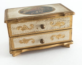 Florentine Music Box Trinket Box Jewelry Box Cottage Decor Shabby Decor