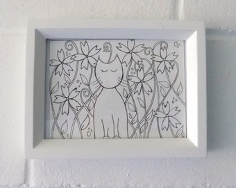 Cat and Flowers Drawing, Black and White Ink Drawing pen and Ink Drawing