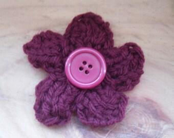 Dark Red Flower Brooch, Flower Pin, Knitted Brooch