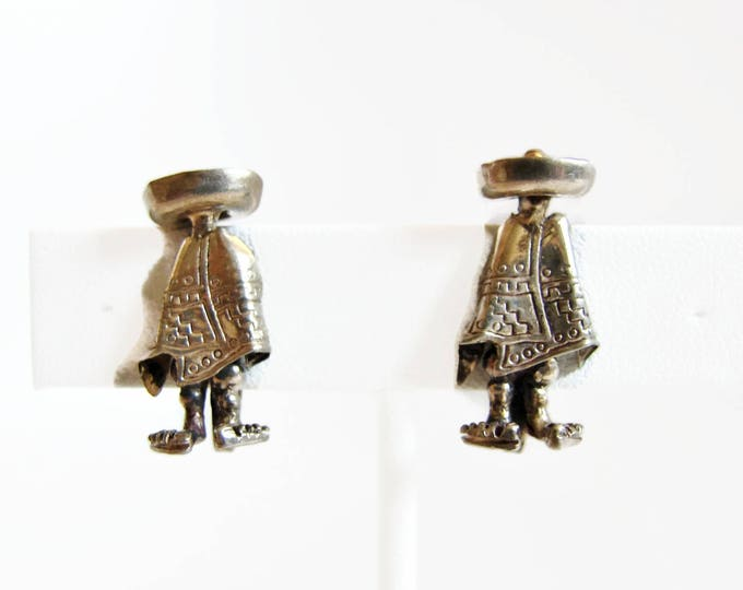 Vintage Sterling Silver Mexican Sombero Earrings