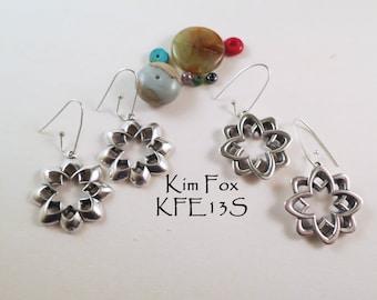 Desert Flower Earrings Reversible in silver with silver wires by Kim Fox