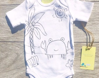Children - Black and White - Crab Palm Tree - Beach - Toddler T-Shirt or Baby Onesie