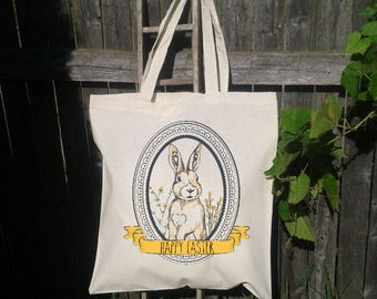 Easter Basket Tote Bag, Vintage Easter Bunny, Personalized Easter Tote Bag, Easter Bunny Tote