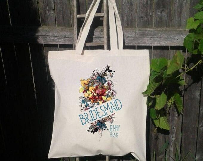 Bridesmaid Tote Bag, Vintage Floral Bridesmaid Gift, Wedding Welcome Tote Bag