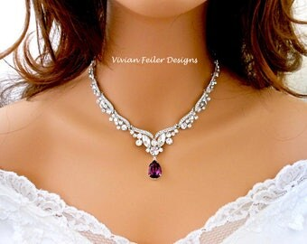 Purple Wedding Necklace Bridal Necklace Amethyst Eggplant Tear Drop Jewelry Blue Red Emerald Green Statement Necklace