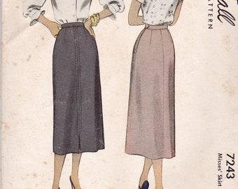 1940's Vintage Pattern, McCall 7243 Misses' Skirt Pattern, Wiggle Skirt