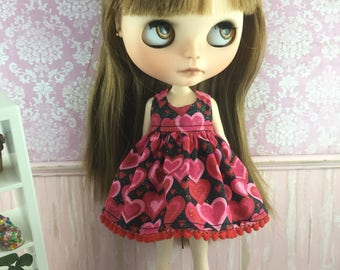 Blythe Dress - Red and Black Hearts