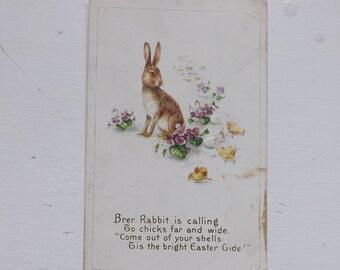 Antique Easter postcard Easter bunny Easter rabbit Brer Rabbit Easter chicks poem violets ephemera