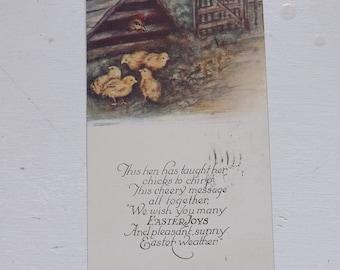 Antique Easter postcard Easter chicks and hen poem Owen Card Publishing Co. ephemera