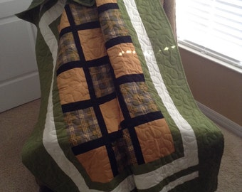 "Green/Gold/Black - Jo Morton Fabrics -54"" x 70"" - Contemporary Quilt - Ready to Ship"