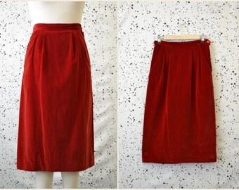 1950s Eton Deep Red Velvet Skirt
