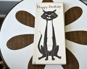 1950s NOS Black Cat Birthday Card with Envelope