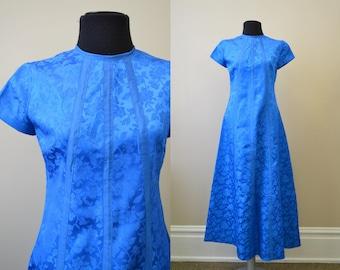 1960s Bright Blue Brocade Dress