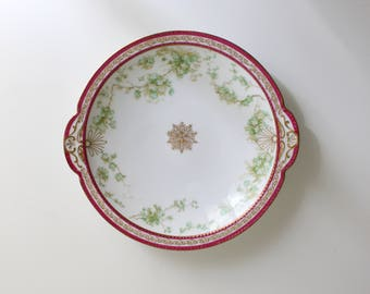 pink & green Haviland Limoges plate - gold band serving bowl / decorative wall plate - French plate with gold accents / Limoges serving