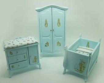 Miniature dollhouse furniture baby room
