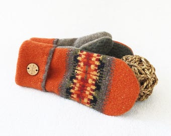 Fall Colors Mittens PUMPKIN SPICE Orange Mittens Fair Isle Felted Sweater Wool Mittens Fleece Lined Mitts Wool Gloves for Her by WormeWoole