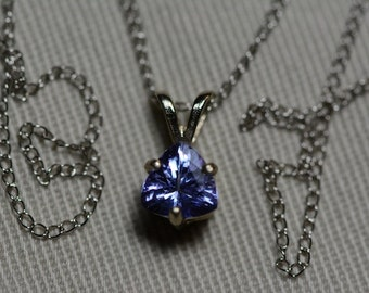 "Tanzanite Necklace, 14 Karat White Gold Tanzanite Pendant 0.79 Carat, Certified Tanzanite, 18"" Gold Chain, Trillion Cut, Appraised At 434.50"